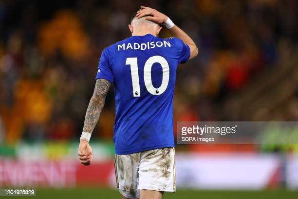 James Maddison of Leicester City during the Premier League match between Norwich City and Leicester City at Carrow Road Final Score Norwich City 10...