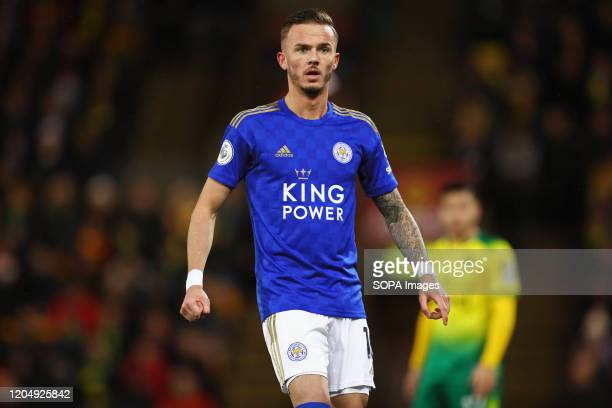 James Maddison of Leicester City during the Premier League match between Norwich City and Leicester City at Carrow Road. Final Score; Norwich City...