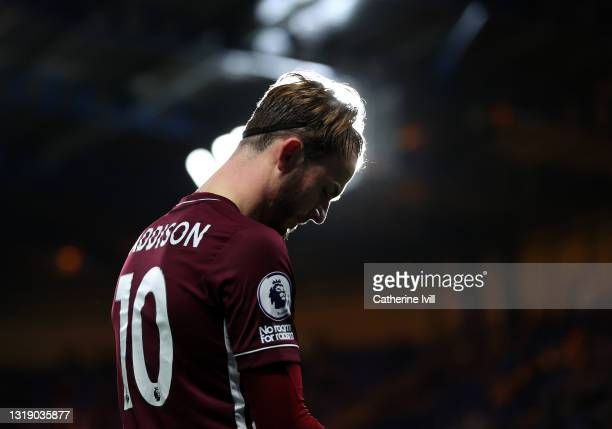 James Maddison of Leicester City during the Premier League match between Chelsea and Leicester City at Stamford Bridge on May 18, 2021 in London,...