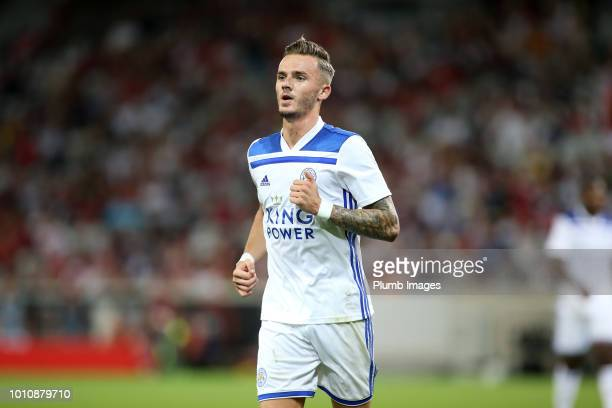 James Maddison of Leicester City during the preseason friendly match between Lille and Leicester City at Stade Pierre Mauroy on August 4 2018 in...