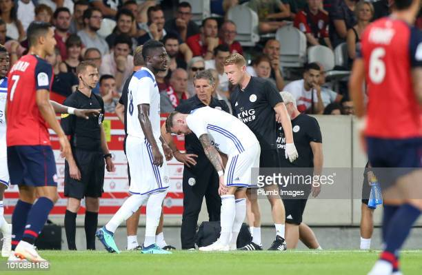 James Maddison of Leicester City has to go off injured during the preseason friendly match between Lille and Leicester City at Stade Pierre Mauroy on...