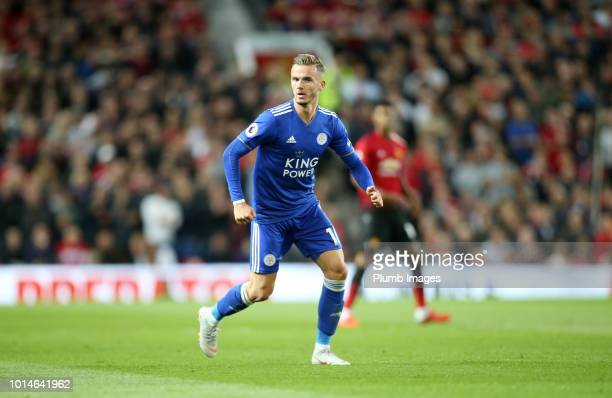 James Maddison of Leicester City in action during the Premier League match between Manchester United and Leicester City at Old Trafford on August 10...