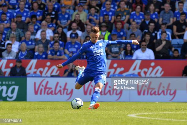James Maddison of Leicester City in action during the Premier League match between Leicester City and Liverpool FC at The King Power Stadium on...