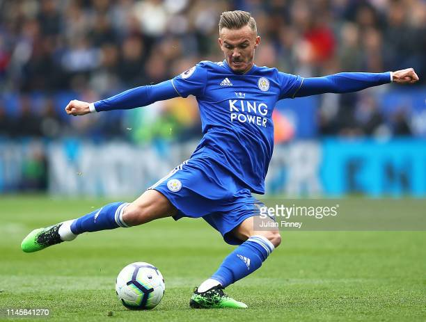 James Maddison of Leicester City in action during the Premier League match between Leicester City and Arsenal FC at The King Power Stadium on April...