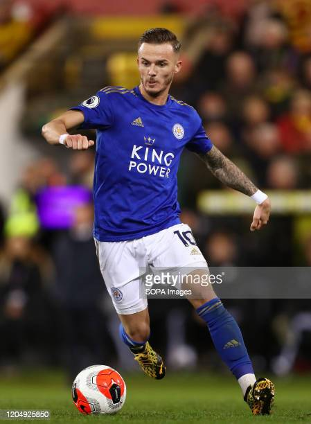 James Maddison of Leicester City in action during the Premier League match between Norwich City and Leicester City at Carrow Road Final Score Norwich...