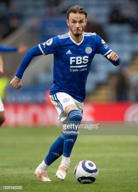 James Maddison of Leicester City in action during the Premier League match between Leicester City and Tottenham Hotspur at The King Power Stadium on...