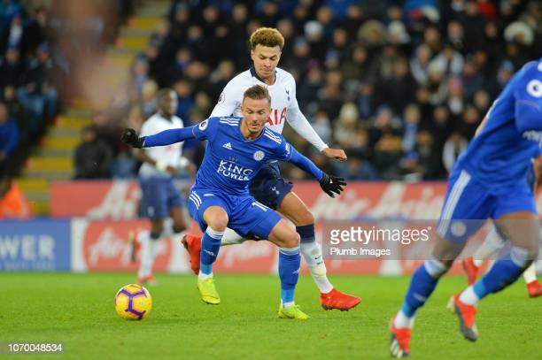 James Maddison of Leicester City in action with Dele Alli of Tottenham Hotspur during the Premier League match between Leicester City and Tottenham...