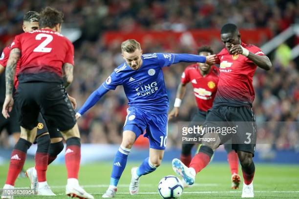 James Maddison of Leicester City in action with Eric Bailly of Manchester United during the Premier League match between Manchester United and...