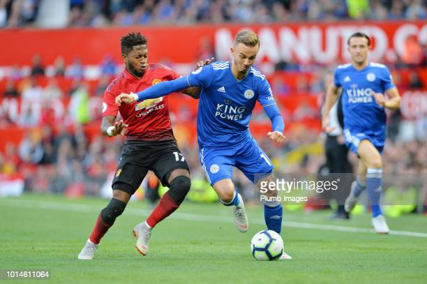 James Maddison of Leicester City in action with Fred of Manchester United during the Premier League match between Manchester United and Leicester...