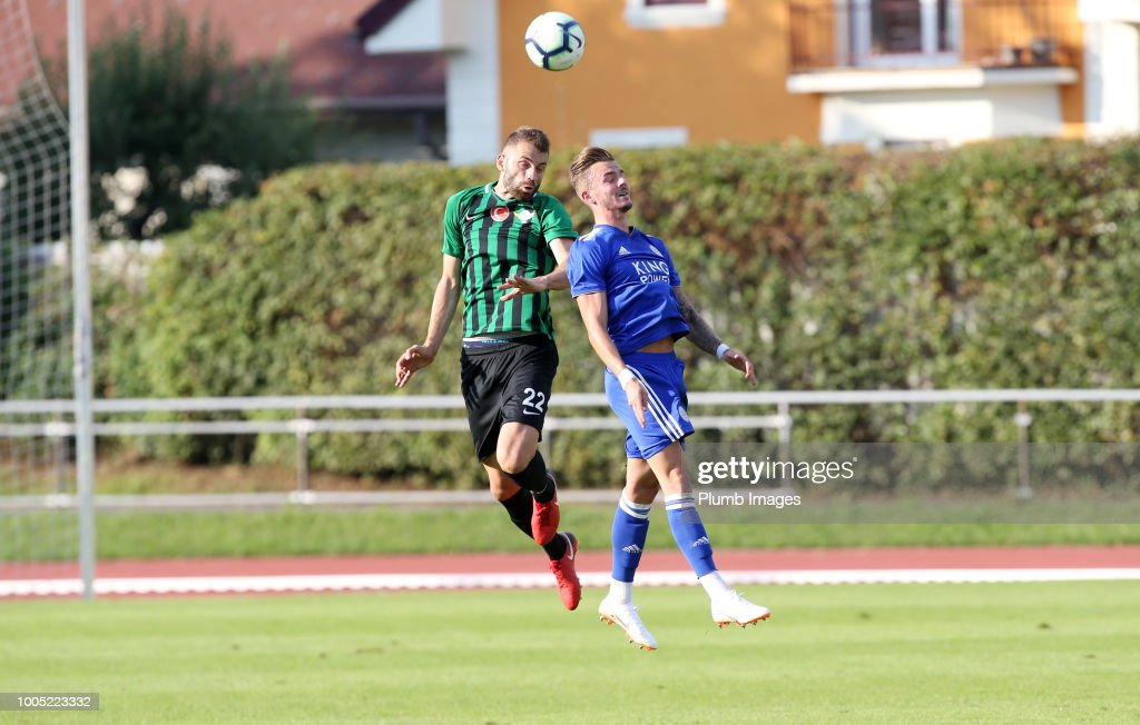 James Maddison of Leicester City in action with Mustafa Yumlu of Akhisarspor during the pre-season friendly match between Leicester City and Akhisarspor at Stadion Villach on July 25th, 2018 in Villach, Austria.