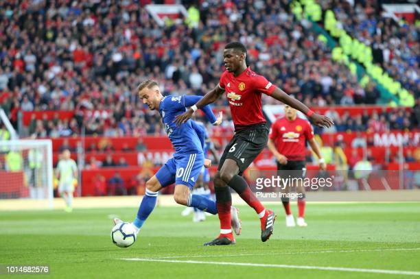 James Maddison of Leicester City in action with Paul Pogba of Manchester United during the Premier League match between Manchester United and...