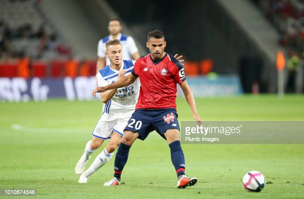 James Maddison of Leicester City in action withThiago Maia of Lille during the preseason friendly match between Lille and Leicester City at Stade...