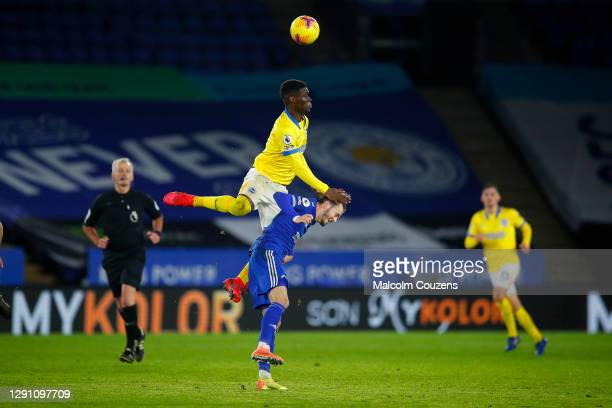James Maddison of Leicester City is challenged by Yves Bissouma of Brighton & Hove Albion during the Premier League match between Leicester City and...