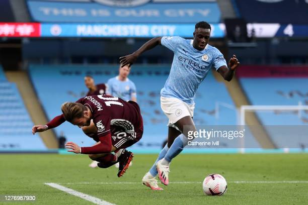 James Maddison of Leicester City is fouled by Benjamin Mendy of Manchester City leading to Leicester City's third penalty and fifth goal during the...
