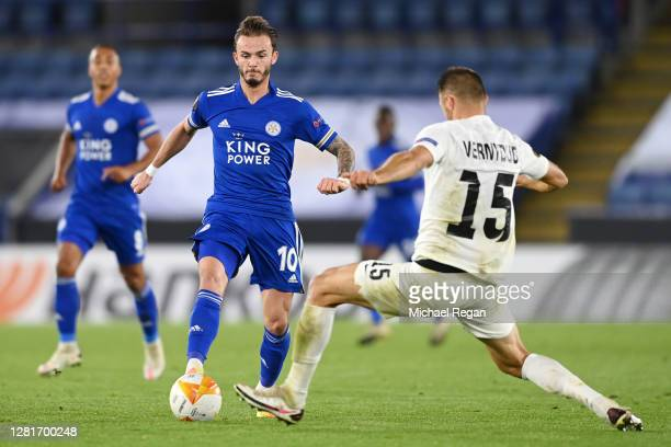 James Maddison of Leicester City is tackled by Vitalii Vernydub of Zorya Luhansk during the UEFA Europa League Group G stage match between Leicester...