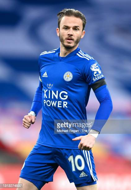 James Maddison of Leicester City looks on during the Semi Final of the Emirates FA Cup match between Leicester City and Southampton FC at Wembley...