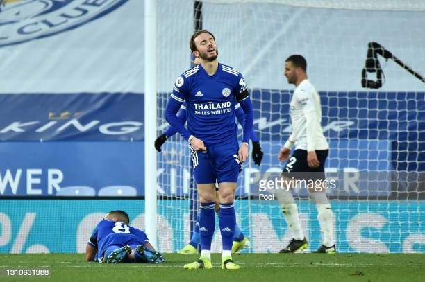 James Maddison of Leicester City reacts after his shot is saved during the Premier League match between Leicester City and Manchester City at The...