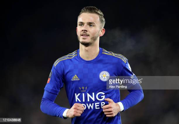 James Maddison of Leicester City reacts during the FA Cup Fifth Round match between Leicester City and Birmingham City at The King Power Stadium on...