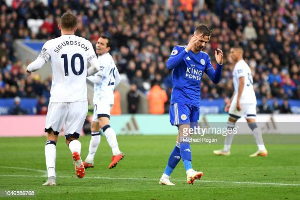 James Maddison of Leicester City reacts during the Premier League match between Leicester City and Everton FC at The King Power Stadium on October 6...