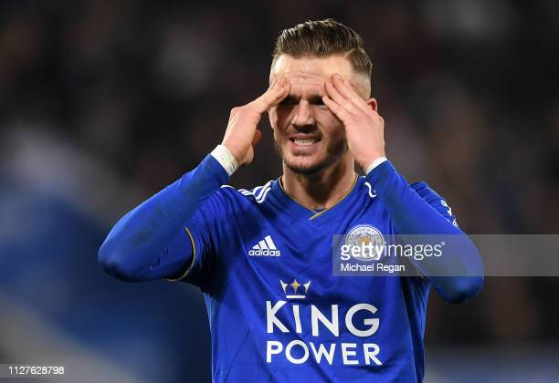 James Maddison of Leicester City reacts during the Premier League match between Leicester City and Brighton Hove Albion at The King Power Stadium on...