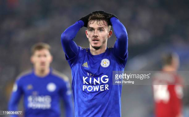 James Maddison of Leicester City reacts during the Premier League match between Leicester City and Liverpool FC at The King Power Stadium on December...