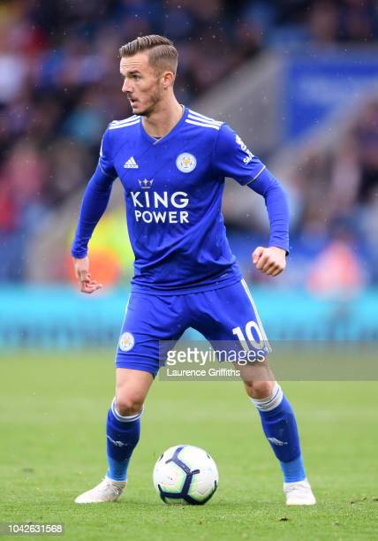 James Maddison of Leicester City runs with the ball during the Premier League match between Leicester City and Huddersfield Town at The King Power...