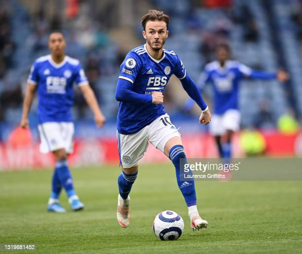 James Maddison of Leicester City runs with the ball during the Premier League match between Leicester City and Tottenham Hotspur at The King Power...