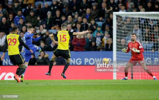 James Maddison of Leicester City scores a goal during the Premier League match between Leicester City and Watford FC at The King Power Stadium on...