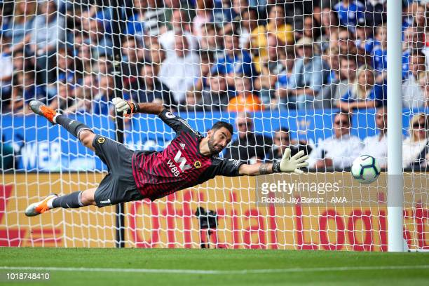 James Maddison of Leicester City scores a goal past Rui Patricio of Wolverhampton Wanderers to make it 20 during the Premier League match between...