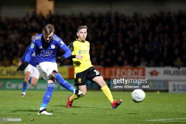 James Maddison of Leicester City scores a goal to make it 13 during the Carabao Cup Round of 16 match between Burton Albion and Leicester City at...