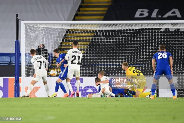 James Maddison of Leicester City scores his sides first goal during the UEFA Europa League Group G stage match between Leicester City and Zorya...