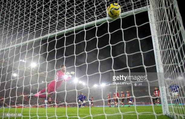 James Maddison of Leicester City scores his team's eighth goal past Angus Gunn of Southampton during the Premier League match between Southampton FC...