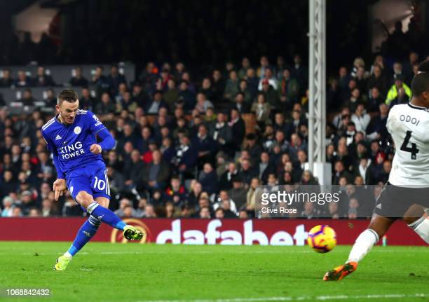 James Maddison of Leicester City scores his team's first goal during the Premier League match between Fulham FC and Leicester City at Craven Cottage...