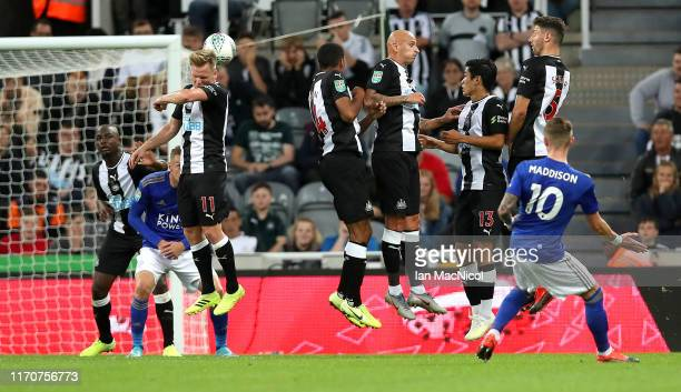 James Maddison of Leicester City scores his team's first goal during the Carabao Cup Second Round match between Newcastle United and Leicester City...