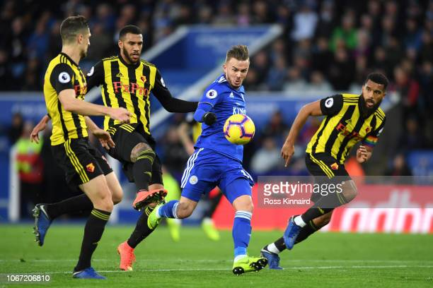 James Maddison of Leicester City scores his team's second goal during the Premier League match between Leicester City and Watford FC at The King...
