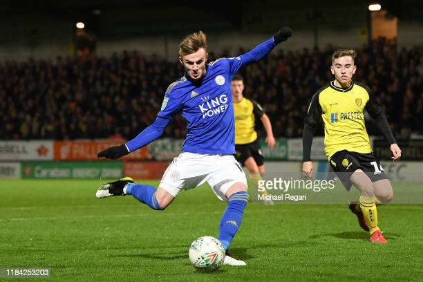 James Maddison of Leicester City scores his team's third goal during the Carabao Cup Round of 16 match between Burton Albion and Leicester City at...