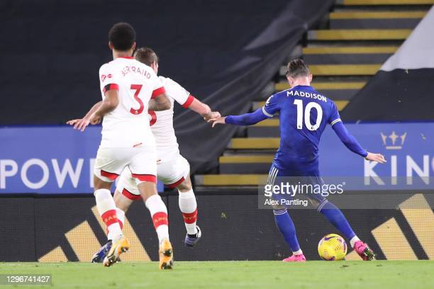 James Maddison of Leicester City scores their side's first goal during the Premier League match between Leicester City and Southampton at The King...
