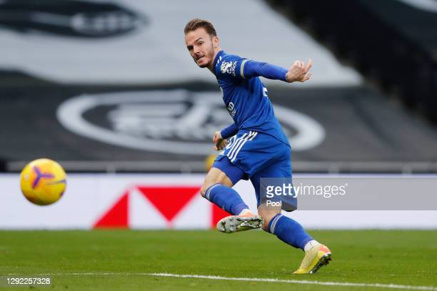 James Maddison of Leicester City scores their team's second goal which is later disallowed due to offside after a VAR decision during the Premier...