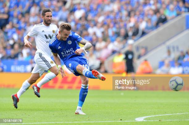 James Maddison of Leicester City scores to make it 20 during the Premier League match between Leicester City and Wolverhampton Wanderers at King...