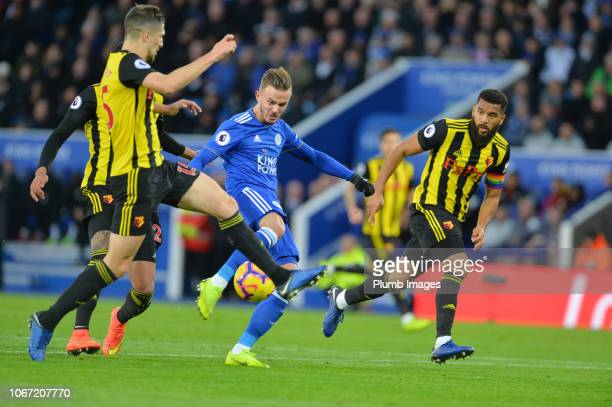 James Maddison of Leicester City scores to make it 20 during the Premier League match between Leicester City and Watford at King Power Stadium on...