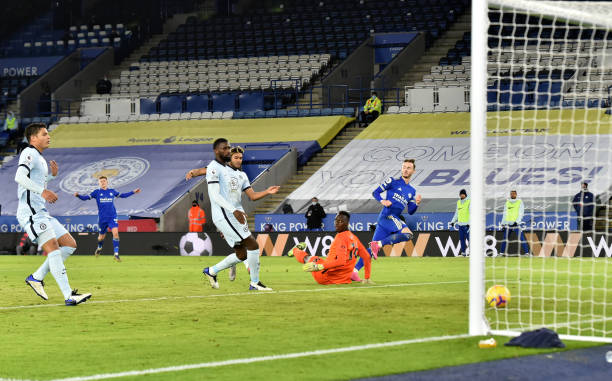 James Maddison of Leicester City scores to make it 2-0 during the Premier League match between Leicester City and Chelsea at The King Power Stadium...
