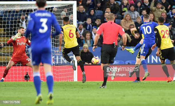 James Maddison of Leicester City scores to make it 20 to Leicester during the Premier League match between Leicester City and Watford at The King...