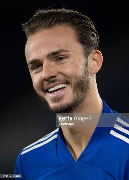 James Maddison of Leicester City shares a joke during the UEFA Europa League Group G stage match between Leicester City and Zorya Luhansk at The King...