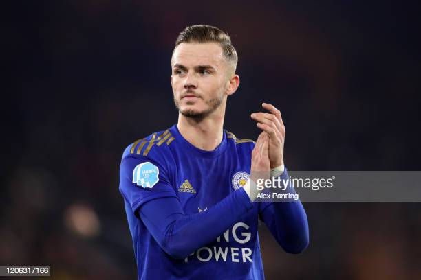 James Maddison of Leicester City shows his appreciation to the fans after the Premier League match between Wolverhampton Wanderers and Leicester City...