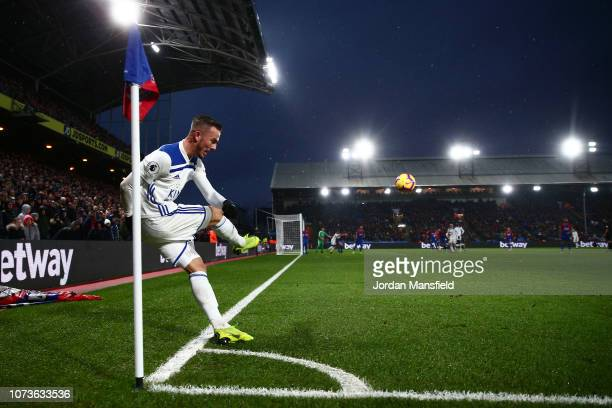 James Maddison of Leicester City takes a corner during the Premier League match between Crystal Palace and Leicester City at Selhurst Park on...