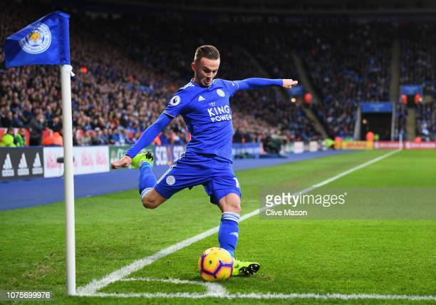 James Maddison of Leicester City takes a corner during the Premier League match between Leicester City and Cardiff City at The King Power Stadium on...