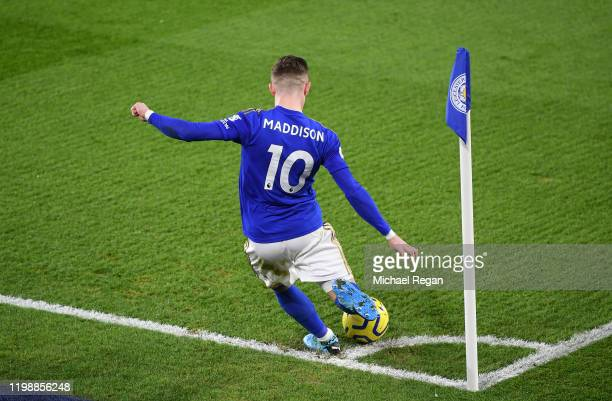 James Maddison of Leicester City takes a corner during the Premier League match between Leicester City and Southampton FC at The King Power Stadium...