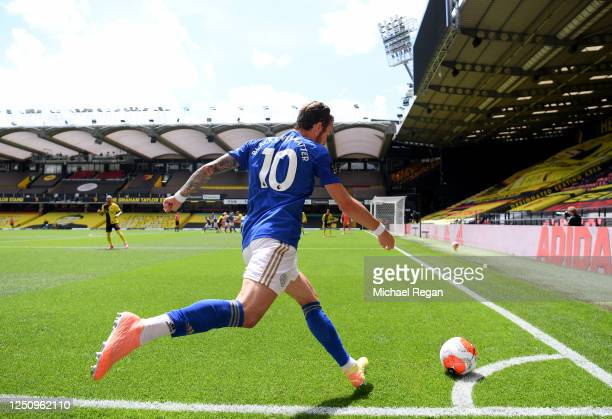 James Maddison of Leicester City takes a corner kick during the Premier League match between Watford FC and Leicester City at Vicarage Road on June...