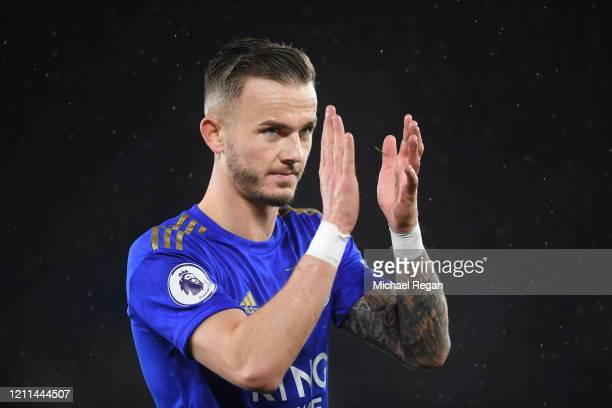 James Maddison of Leicester City thanks the fans after victory in the Premier League match between Leicester City and Aston Villa at The King Power...