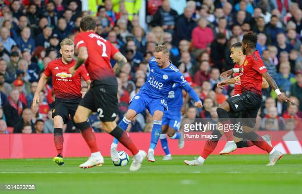 James Maddison of Leicester City tries to find a way through the Manchester United defence during the Premier League match between Manchester United...